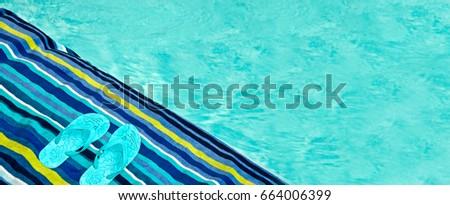 ecaf2864246b Swimming Pool Bath Towel Flip Flops Stock Photo (Edit Now) 664006399 ...