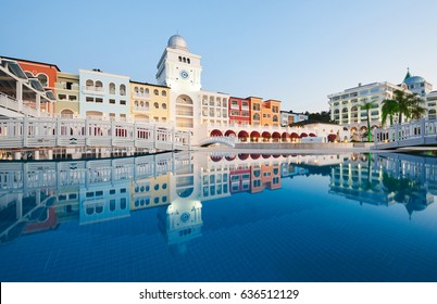 Swimming pool and beach of luxury hotel and outdoor pools and a spa. Amara Dolce Vita Luxury Hotel. Resort. Tekirova-Kemer. Turkey