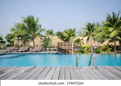 Swimming pool in beautiful tropical style pool villa resort