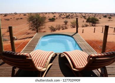 swimming pool with beautiful view over the Kalahari desert - Namibia Africa