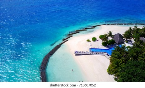 Swimming pool with blue sea ocean in tropical paradise resort island Maldives
