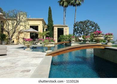 swimming pool with a bridge,