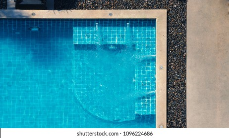 Swimming pool and bubble bath for relaxing in summer hot day and bird eye view angle