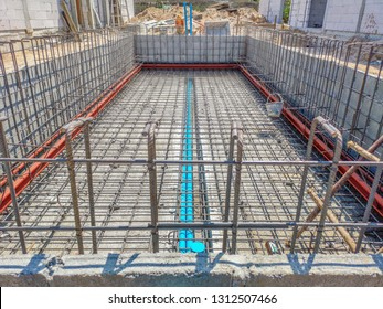 Swimming pool construction.Steel structure swimming pool.Steel structure of swimming pool floor.