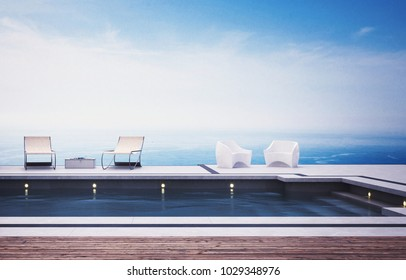 Swimming pool with deckchairs against sea on sunny day. 3d Rendering.