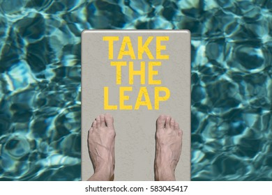 Swimming pool diving board with motivational text Take the Leap
