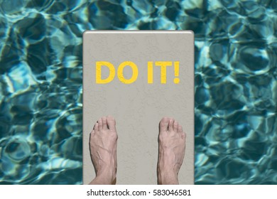 Swimming pool diving board with motivational text Do It