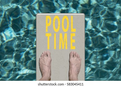 Swimming pool diving board with text Pool Time