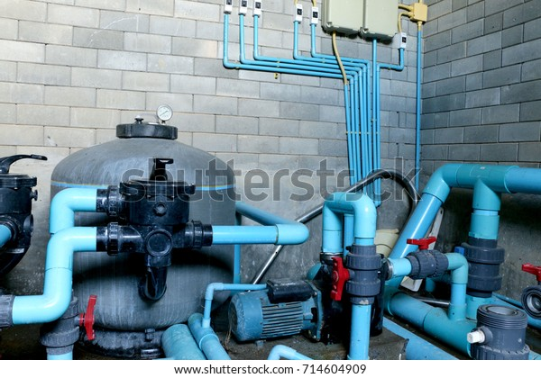 Swimming Pool Filtration Systems Sand Filters Stock Photo ...