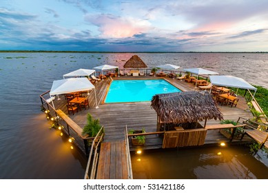 Swimming pool floating in the Amazon River in Iquitos, Peru