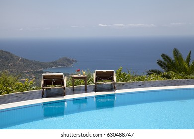Swimming Pool In The Garden And Beautiful Sea Landscape