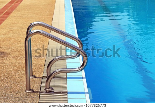 Swimming Pool Hand Rail Stainless Steel Stock Photo (Edit ...
