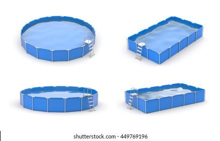 Swimming pool icon set. Blue pools.3d illustration