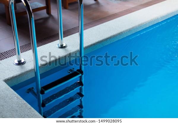 Swimming Pool Ladder Grab Rails Blue Stock Photo (Edit Now ...