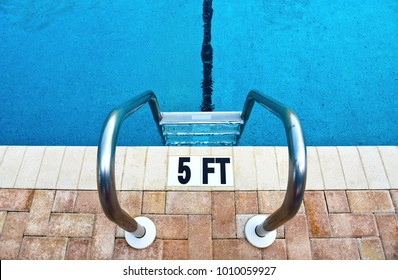Swimming Pool Ladder and Water Depth Marker