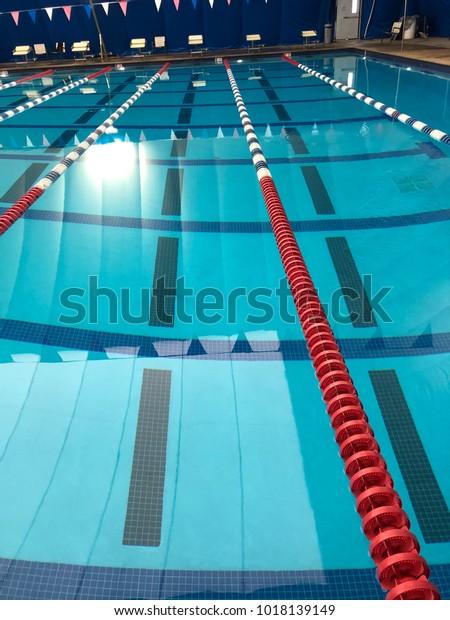 Swimming Pool Lane Lines Stock Photo (Edit Now) 1018139149