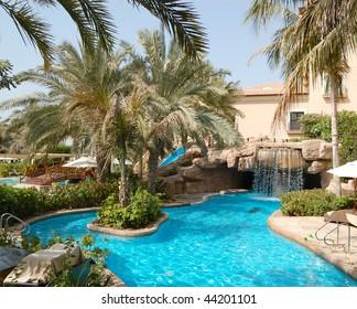 Swimming pool at luxury hotel, Dubai, United Arab Emirates