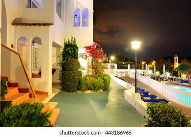Swimming pool at the luxury hotel in night illumination, Mallorca island, Spain
