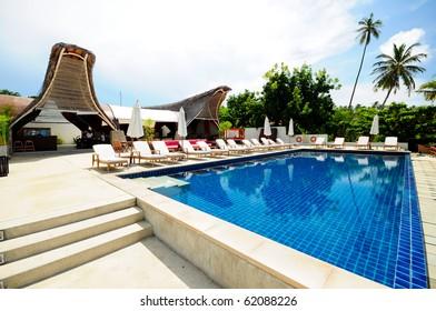 Swimming pool at modern luxury villa, Samui island, Thailand