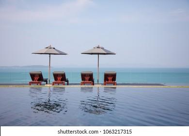 Swimming pool with ocean views.