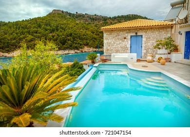 Swimming pool on island of Kefalonia, Greece