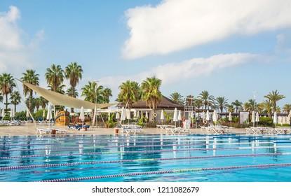 Swimming pool on site in Turkey. Turkey, Belek. September 12, 2017