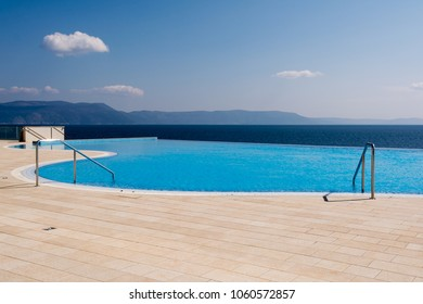 swimming pool overlooking the sea in Rabac, Istria region , Croatia