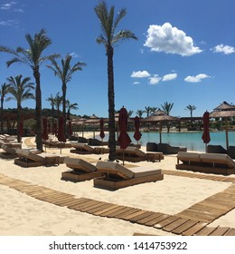 Swimming pool and palm trees in Sotogrande, Spain