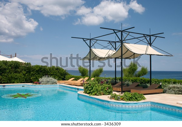 swimming pool in seaside resort