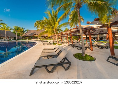 Swimming pool with the some beach lounges at the luxury tropical resort.