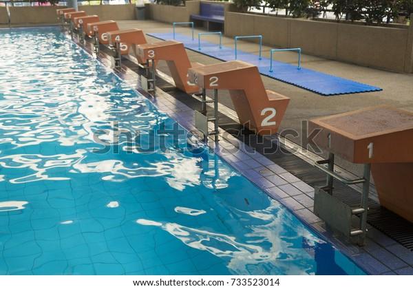 Swimming Pool Starting Blocks Stock Photo (Edit Now) 733523014
