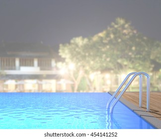 Swimming Pool And Terrace Of The Blur Exterior Background
