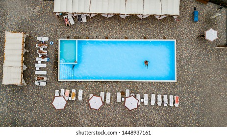 Swimming Pool viewed from above. Top down view