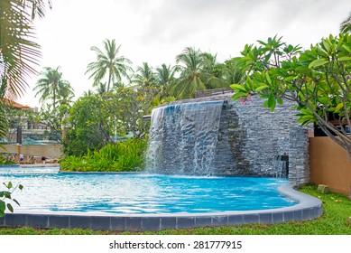 swimming pool and waterfall