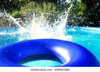 swimming portable pool in garden
