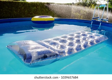 swimming portable pool in garden