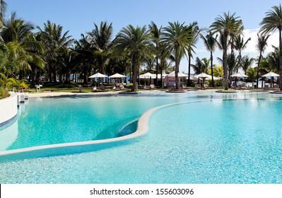 Swimmingpool in the tropical resort on Mauritius