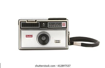 SWINDON, UK - APRIL 10, 2016: kodak instamatic 100 camera on a white background