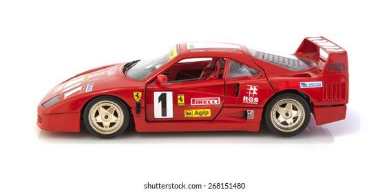 SWINDON, UK - APRIL 2, 2015: Ferrari F40 in race trim on a white background