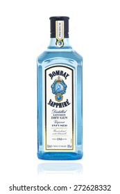 SWINDON, UK - APRIL 2, 2015: Bottle of Bombay Sapphire Gin on A White Background