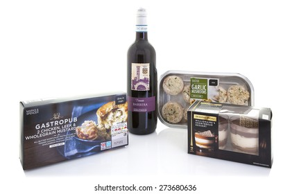 SWINDON, UK - APRIL 2, 2015: Marks and Spencer Meal Deal with Red Wine, Main, side and Dessert