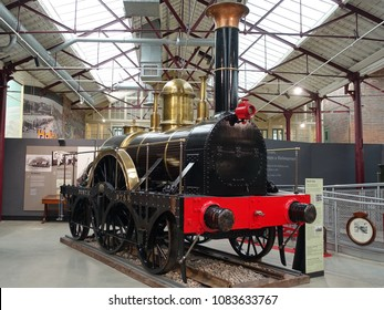 Swindon, UK - April 6, 2018: A vintage steam engine train is seen on display at a railway museum.