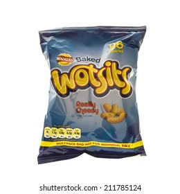 SWINDON, UK - AUGUST 10, 2014: Bag of Walkers Wotsits cheese snack on a white background