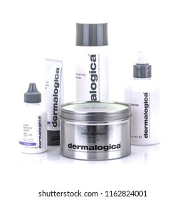 SWINDON, UK - AUGUST 18, 2018: Dermalogica skin care products on a White Background