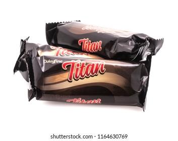 SWINDON, UK - AUGUST 19, 2018: Three Titan Chocolate bars on a White Background
