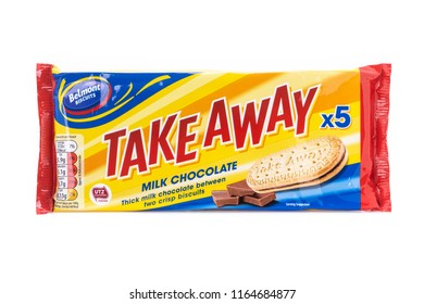 SWINDON, UK - AUGUST 19, 2018: Packet of Belmont Take Away Milk Chocolate Biscuits on a White Background.