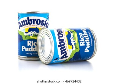 SWINDON, UK - AUGUST 2, 2016: Two tins of Ambrosia rice pudding on a white background