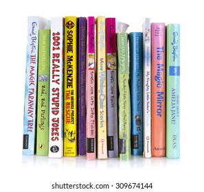 SWINDON, UK - AUGUST 25, 2015: Collection Of Childrens Books on a White Background