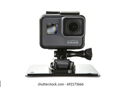 SWINDON, UK - AUGUST 8, 2017: GoPro Hero 5 Black  Action Camara on a White Background