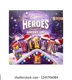 SWINDON, UK - DECEMBER 1, 2018: Cadburys Heroes Christmas Advent-ure Advent Calendar on a white background.